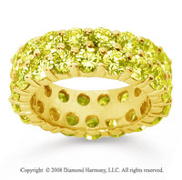 6 1/2 Carat Yellow Sapphire 18k Yellow Gold Double Row Eternity Band