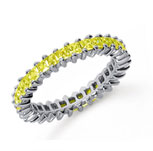 2 Carat Yellow Sapphire Platinum Princess Eternity Band