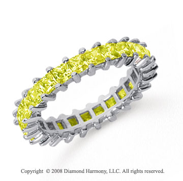 2 1/2 Carat Yellow Sapphire Platinum Princess Eternity Band