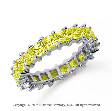 3 1/2 Carat Yellow Sapphire Platinum Princess Eternity Band
