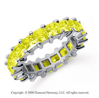 4 3/4 Carat Yellow Sapphire Platinum Princess Eternity Band