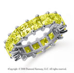6 1/2 Carat Yellow Sapphire Platinum Princess Eternity Band