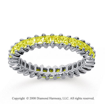 2 Carat Yellow Sapphire 14k White Gold Princess Eternity Band