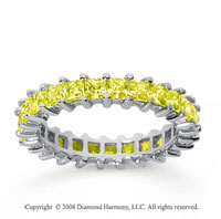 2 1/2 Carat Yellow Sapphire 14k White Gold Princess Eternity Band