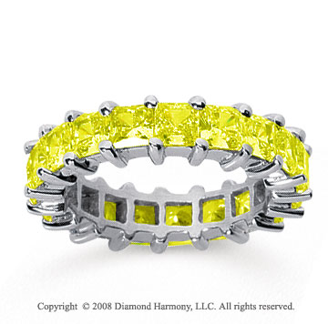 4 3/4 Carat Yellow Sapphire 14k White Gold Princess Eternity Band
