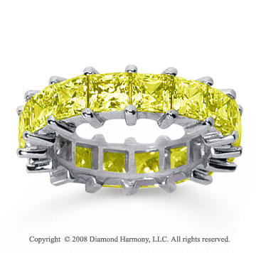 6 1/2 Carat Yellow Sapphire 14k White Gold Princess Eternity Band