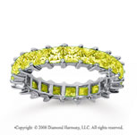 3 1/2 Carat Yellow Sapphire 18k White Gold Princess Eternity Band