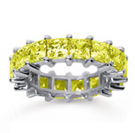 6 1/2 Carat Yellow Sapphire 18k White Gold Princess Eternity Band