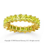 3 1/2 Carat Yellow Sapphire 14k Yellow Gold Princess Eternity Band