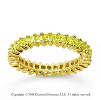 1 1/2 Carat Yellow Sapphire 18k Yellow Gold Princess Eternity Band