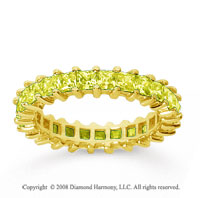 2 1/2 Carat Yellow Sapphire 18k Yellow Gold Princess Eternity Band