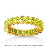 3 1/2 Carat Yellow Sapphire 18k Yellow Gold Princess Eternity Band