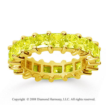 4 3/4 Carat Yellow Sapphire 18k Yellow Gold Princess Eternity Band
