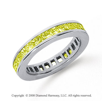 3/4 Carat Yellow Sapphire Plat Princess Channel Eternity Band