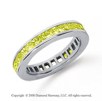 1 Carat Yellow Sapphire Platinum Princess Channel Eternity Band