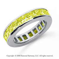 2 Carat Yellow Sapphire Platinum Princess Channel Eternity Band