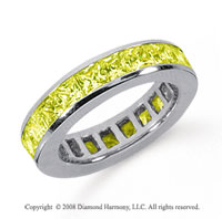 3 Carat Yellow Sapphire Platinum Princess Channel Eternity Band