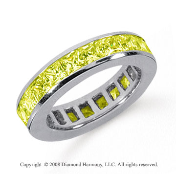 4 Carat Yellow Sapphire Platinum Princess Channel Eternity Band
