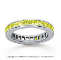 1 1/2 Carat Yellow Sapphire 14k White Gold Princess Channel Eternity Band