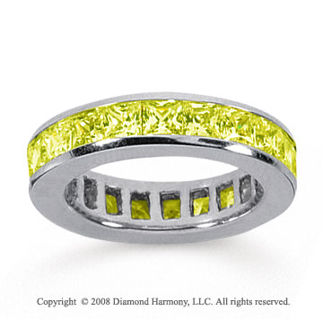 4 Carat Yellow Sapphire 14k White Gold Princess Channel Eternity Band