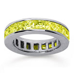 4 3/4 Carat Yellow Sapphire 14k White Gold Princess Channel Eternity Band