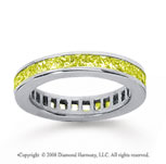 3/4 Carat Yellow Sapphire 18k White Gold Princess Channel Eternity Band