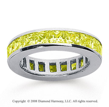 2 1/2 Carat Yellow Sapphire 18k White Gold Princess Channel Eternity Band