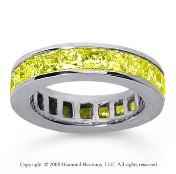 4 3/4 Carat Yellow Sapphire 18k White Gold Princess Channel Eternity Band