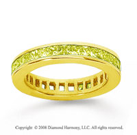 1 1/2 Carat Yellow Sapphire 14k Yellow Gold Princess Channel Eternity Band