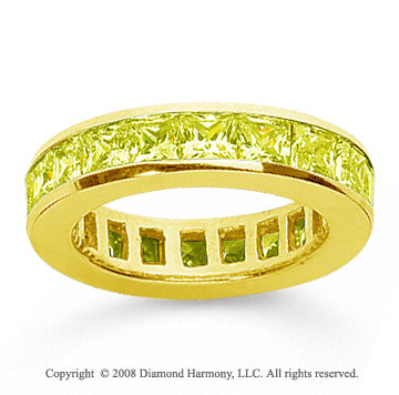 2 1/2 Carat Yellow Sapphire 14k Yellow Gold Princess Channel Eternity Band