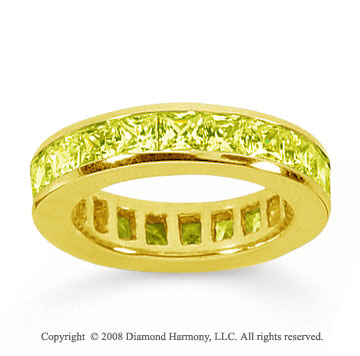 4 Carat Yellow Sapphire 14k Yellow Gold Princess Channel Eternity Band