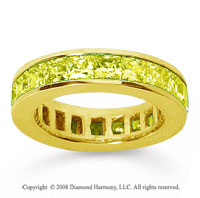 4 3/4 Carat Yellow Sapphire 14k Yellow Gold Princess Channel Eternity Band