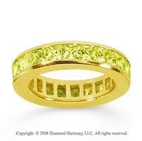 3 Carat Yellow Sapphire 18k Yellow Gold Princess Channel Eternity Band