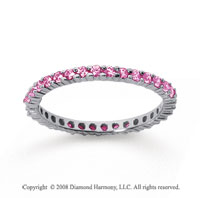 1/2 Carat Pink Sapphire 14k White Gold Round Eternity Band
