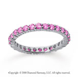 3/4 Carat Pink Sapphire 14k White Gold Round Eternity Band