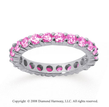 1 1/2 Carat Pink Sapphire 14k White Gold Round Eternity Band