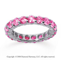 3 Carat Pink Sapphire 14k White Gold Round Eternity Band