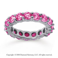 3 1/2 Carat Pink Sapphire 14k White Gold Round Eternity Band