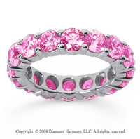 5 Carat Pink Sapphire 14k White Gold Round Eternity Band