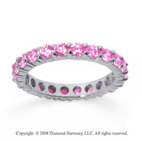 1 1/2 Carat Pink Sapphire 18k White Gold Round Eternity Band