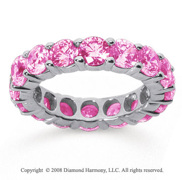 5 Carat Pink Sapphire 18k White Gold Round Eternity Band