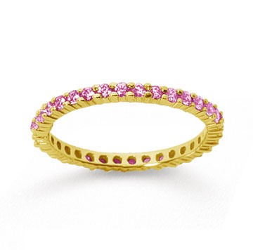 1/2 Carat Pink Sapphire 14k Yellow Gold Round Eternity Band