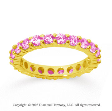 1 1/2 Carat Pink Sapphire 14k Yellow Gold Round Eternity Band