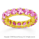 5 Carat Pink Sapphire 14k Yellow Gold Round Eternity Band