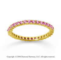 1/2 Carat Pink Sapphire 18k Yellow Gold Round Eternity Band