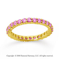 1 Carat Pink Sapphire 18k Yellow Gold Round Eternity Band