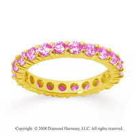 1 1/2 Carat Pink Sapphire 18k Yellow Gold Round Eternity Band