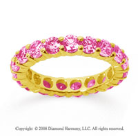 3 Carat Pink Sapphire 18k Yellow Gold Round Eternity Band