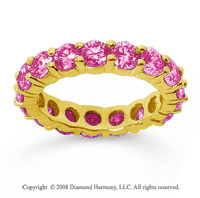 3 1/2 Carat Pink Sapphire 18k Yellow Gold Round Eternity Band