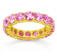 5 Carat Pink Sapphire 18k Yellow Gold Round Eternity Band